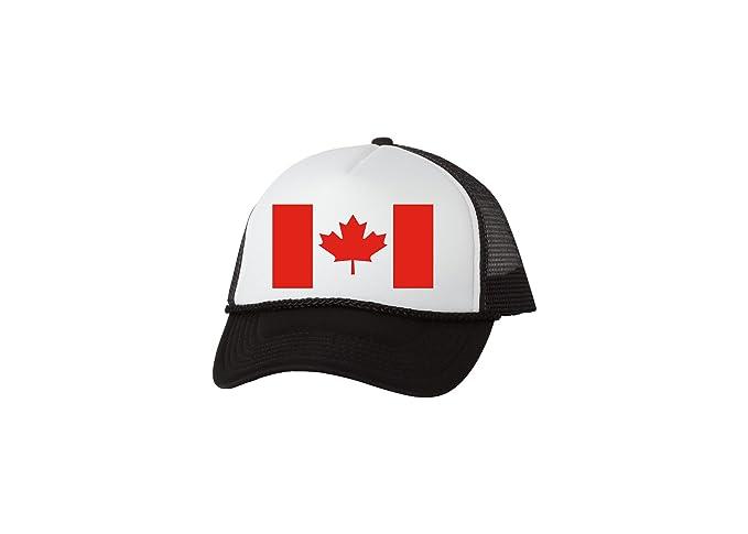 332946cc572 Rogue River Tactical Funny Trucker Hat Canadian Flag Maple Leaf Baseball Cap  Retro Vintage Joke Canada (Black) at Amazon Men s Clothing store