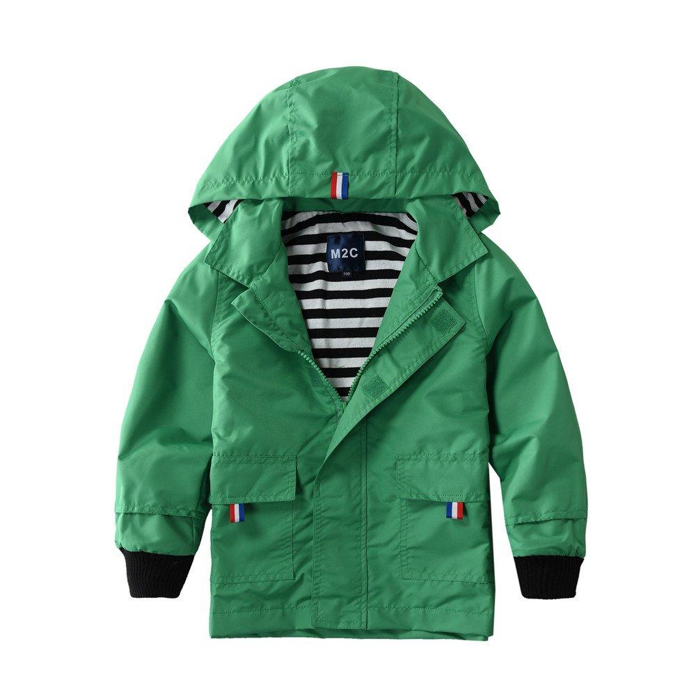 M2C Boys Raincoat Hooded Jacket Outdoor Light Windbreaker 3T Green