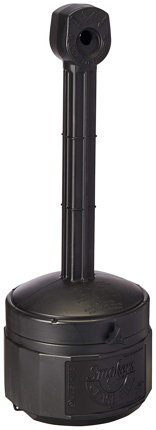 "Justrite 26806D Polyethylene Personal Smokers Cease Fire Cigarette Butt Receptacle, 1 Gallon Capacity, 11"" OD x 30"" Height, Deco Black"