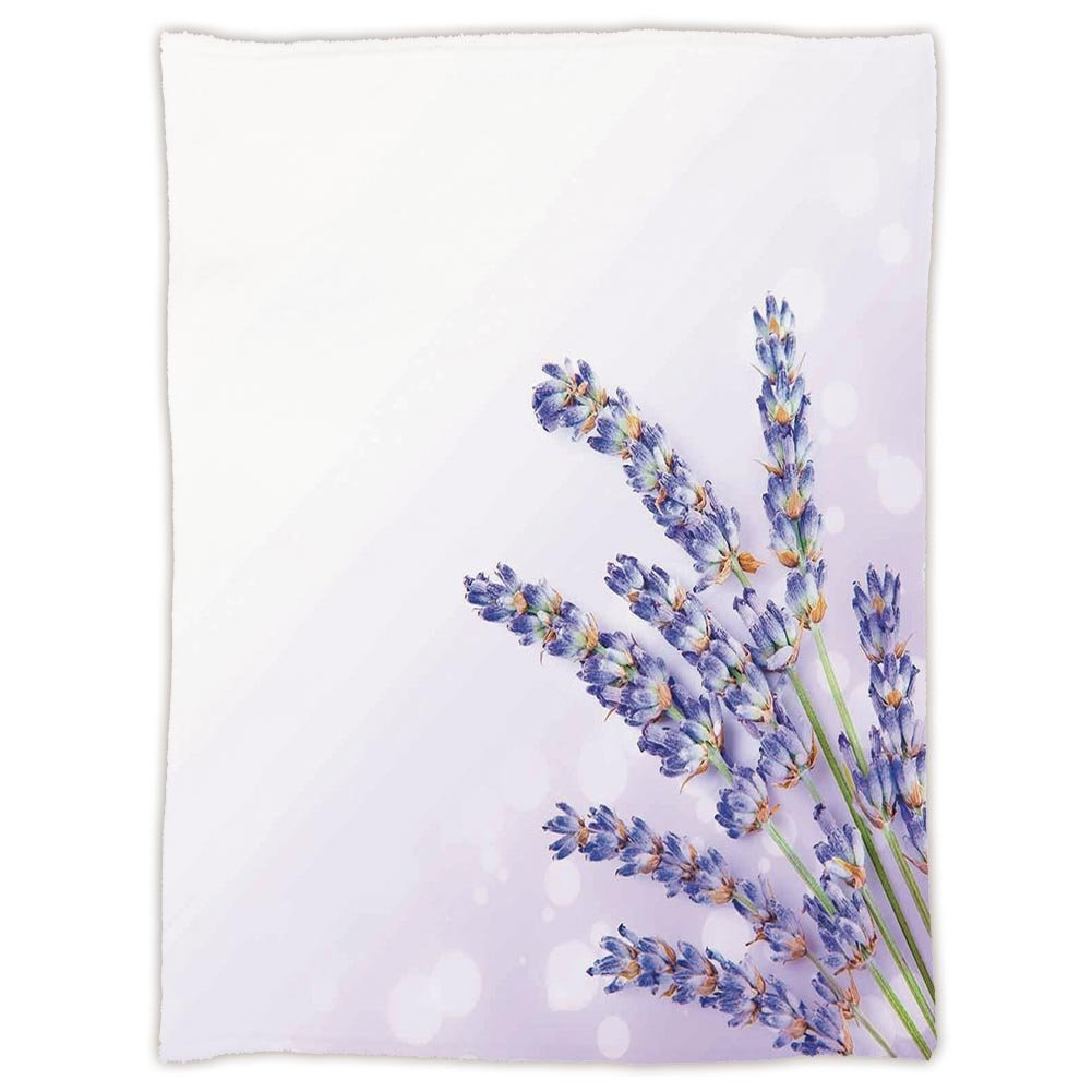 iPrint Super Soft Throw Blanket Custom Design Cozy Fleece Blanket,Lavender,Little Posy of Medicinal Herb Fresh Plant of Purple Flower Spa Aromatheraphy Organic,Lavander,Perfect for Couch Sofa or Bed