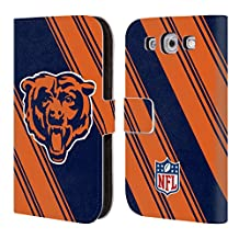 Official NFL Stripes 2017/18 Chicago Bears Leather Book Wallet Case Cover For Samsung Galaxy S3 III I9300