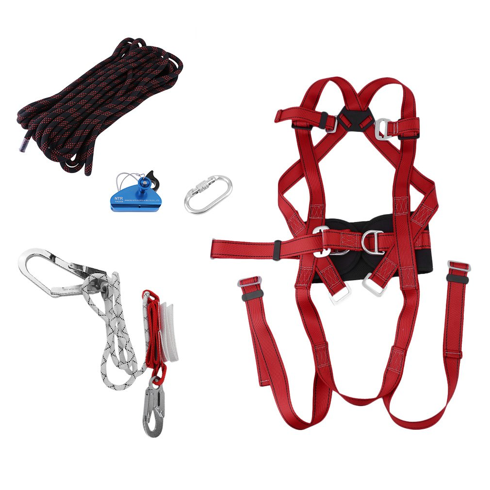 Belovedkai Fall Protection Safety Harness Full Body Personal Protection Equipment 5 in 1 Climbing Downhill Harness Rappel Rescue Safety Belt Kit