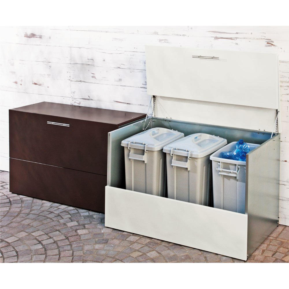 ガルバ製ゴミ保管庫 レギュラータイプ 幅100奥行55cmペール付き G47712(サイズはありません イ:ホワイト) B079BF7B72  イ:ホワイト
