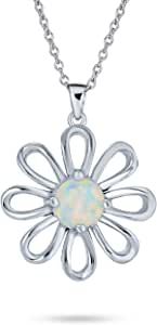 White Rainbow Created Opal Daisy Flower Pendant Necklace For Women 925 Sterling Silver October Birthstone