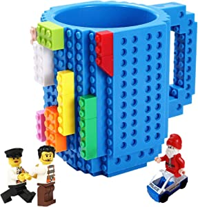 Build-on Brick Mug,with 3 packs of Blocks,Latest Version,Creative DIY Building Blocks Cup for Coffee Water Juice,BPA-free Plastic,Unique Funny Cups,Puzzle Mug,Novelty Gifts for Kids,Triumphic