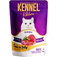Kennel Kitchen Grain Free Wet Cat Food for Adults and Kittens, Tuna in Jelly, 10 Pouches (10 x 80 GMS)