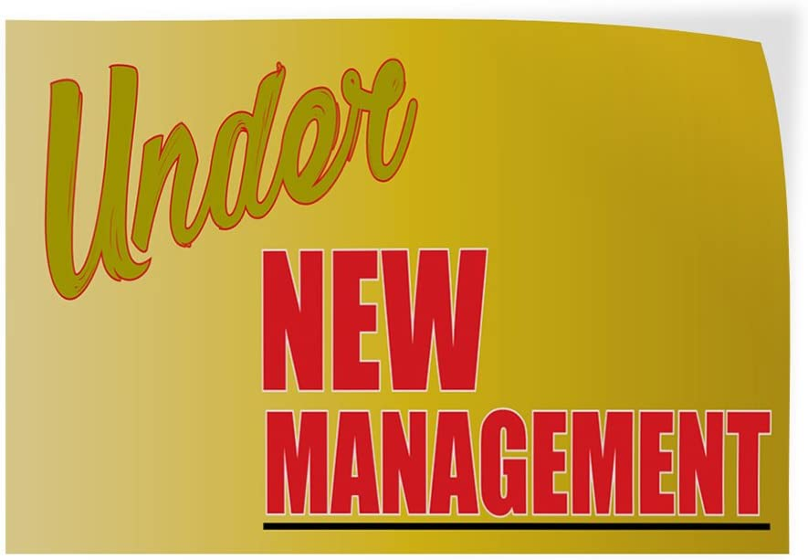 Set of 2 58inx38in Decal Sticker Multiple Sizes Under New Management #1 Style O Business Under New Management Sign Outdoor Store Sign Yellow