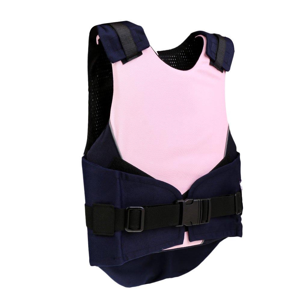 Gazechimp Chaleco de Equitación de Niños con Hebilla de Seguridad y Agujero de Aire Accesorio de Hípica Azul/Rosa Transpirable