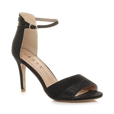 c9bddb8b6b1 Ajvani Womens Ladies high Heel Contrast Two Tone Ankle Cuff Strap Sandals  Size 3 36