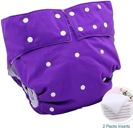 Ning Impermeable Pañal de Tela para Adultos Reutilizable Adolescente Pañales con Inserciones para discapacitados Protección contra la incontinencia Lavable Calzoncillos,Purple: Amazon.es: Deportes y aire libre