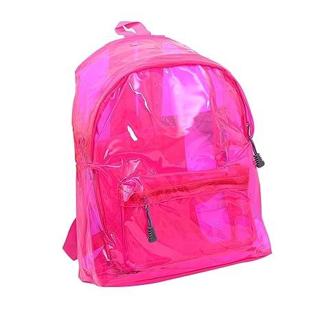 Tinksky Elegante mochila transparente morral lindo escuela cartera para los niños niñas (rosa roja)