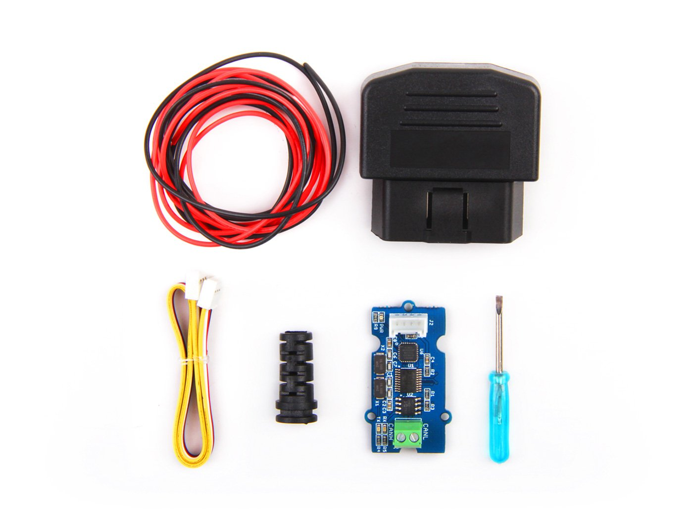 In ZIYUN OBD-II CAN-BUS Development Kit, can get data from your vehicle easily, includes a Serial CAN-BUS module as well as a OBD-II Connector, The kit don't include a controller board The kit don' t include a controller board