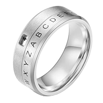 7adb82955dc1c PAURO Men's Stainless Steel Alphabet Letters Arabic Numerals Spinner ...