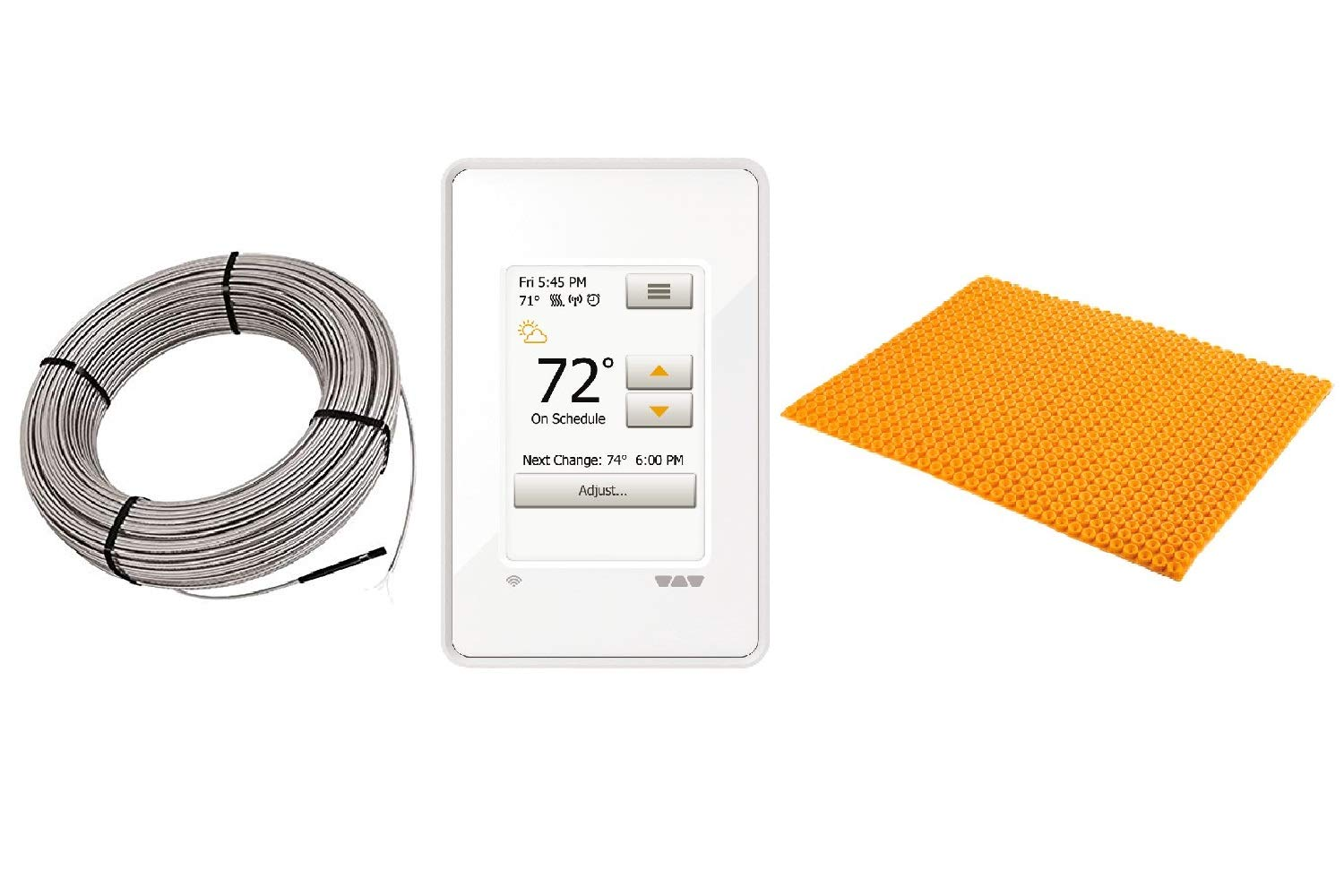 Schluter DITRA Floor Heat E Kit Includes Wi-Fi Touchscreen Thermostat + Heat Membrane + Cable 120V 38 SqFt Heat Kit