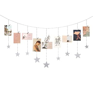 Mkono Hanging Photo Display Wood Stars Garland with Chains Picture Frame Collage with 30 Wood Clips Wall Art Decoration for Home Office Nursery Room Dorm, Silver