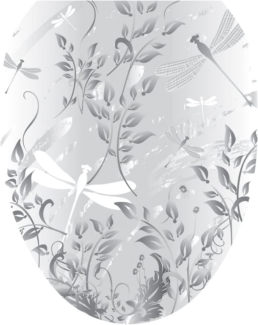 Toilet Tattoos, Toilet Seat Cover Decal, Fields of Grey Dragonflies, Size Elongated