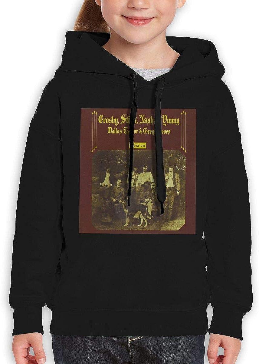 Deja Vu Teen Hooded Sweate Sweatshirt Black Guiping Crosby Stills Nash /& Young