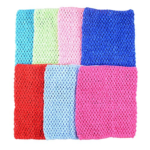 (BERON Pack of 7 9 Inch Handmade Baby Girl Silk Crochet Tutu Tube Top Chest Wrap for Toddler Infants(AID04-B))