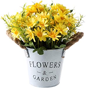 Gumolutin Artificial Flowers Pot, Fake Bonsai Plants in Metal Potted for Home Wedding Office Restaurant Table Centerpieces Arrangement Decoration,Daisy-Yellow