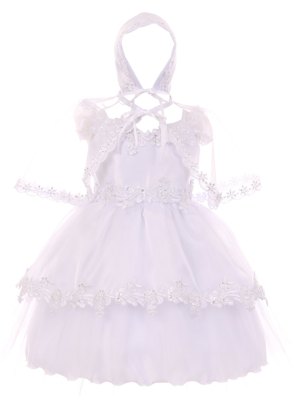 Aki_Dress Simple Elegant Infant Baptism Dress with Bonnet & Cape
