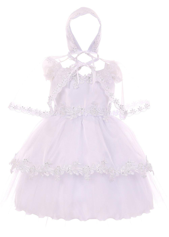67259b748 Amazon.com  Aki Dress Simple Elegant Infant Baptism Dress With ...