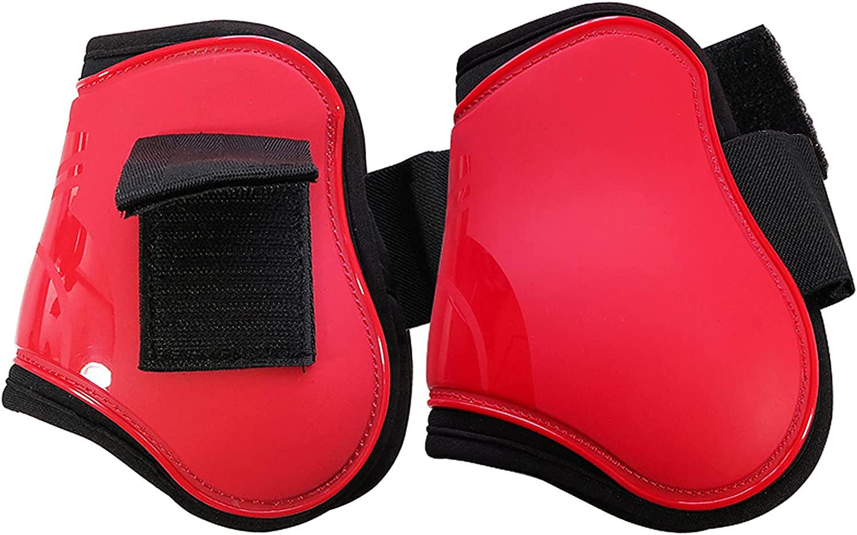 ARbuliry 2 Pcs Botas de Caballo, Botas de Pata de Caballo de Capa Gruesa con Interior Suave y Ajustable para Entrenamiento y Competición (Rojo XL)