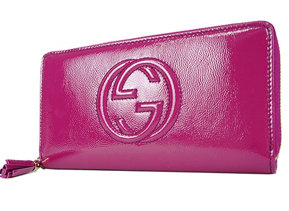 d0d5f0d877de29 Gucci Soho Leather continental wallet Zipper 308004 Hot Pink Fuschia Patent  Leather: Amazon.in: Clothing & Accessories