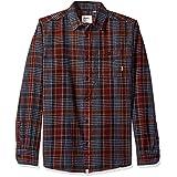 Altamont Men's Binary Long Sleeve Flannel Shirt, Dark Navy, Small