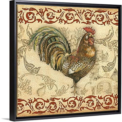 Gregory Gorham Floating Frame Premium Canvas with Black Frame Wall Art Print Entitled Toile Rooster III 30
