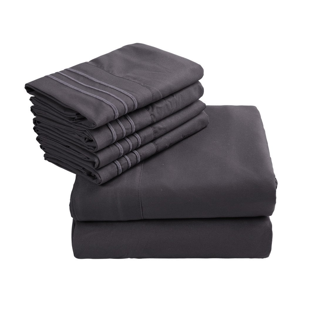 Emonia King Sheets Set - 6 pieces Bed Sheets-Microfiber Super Soft 1800 Series Deep Pocket Fitted Sheets-Wrinkle Fade Resistant (Dark Grey, King)