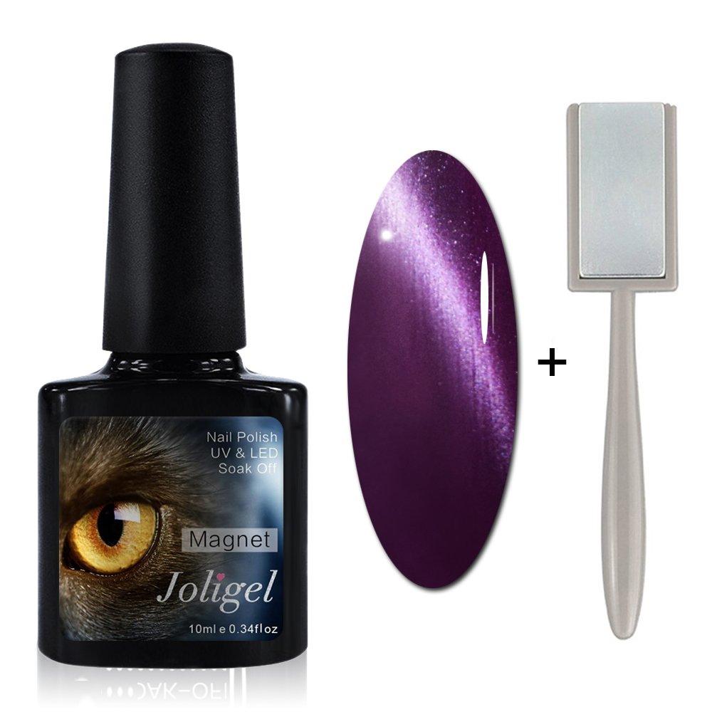 Joligel Esmalte Ojo de Gato 3D Semipermanente Gel de Uñas Manicura Soak Off UV LED 10ML, 6561 morado, viene con imán gratis