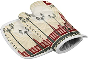 Crystal Emotion Kitchen Oven Mitts and Pot Holders Sets, Stamp 1865 UK London Heat Resistant Oven Gloves and Potholders Hot Pads Set Non-Slip Mittens for Cooking BBQ Baking Grilling