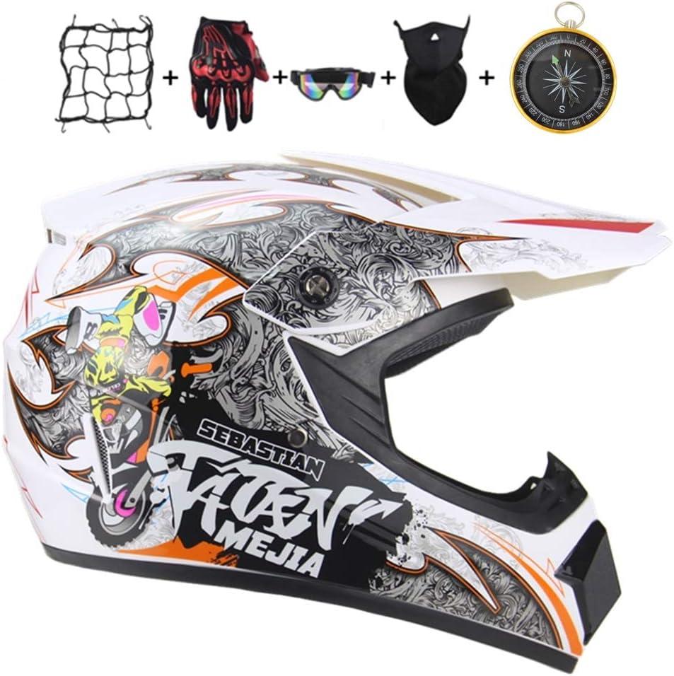 S IURIMA Casco Motocross per Bambino Casco da Moto Cross ATV Go-Kart-Aureo-S 52-54