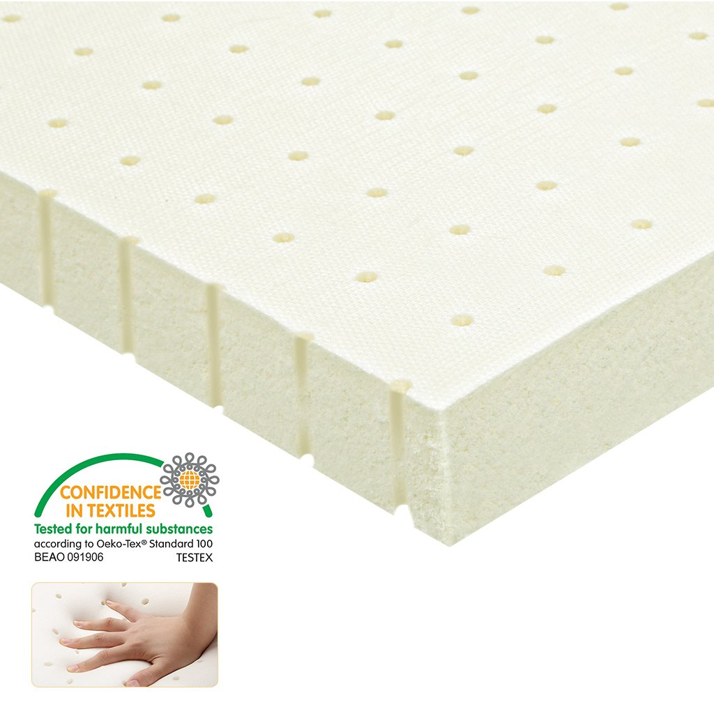 LANGRIA Latex Mattress Topper Foam Bed Topper Removable Bamboo Fabric Zippered Cover, Medium Firmness, 2'' Twin Size by LANGRIA
