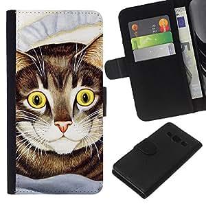 Cat Painting American Shorthair Happy - la tarjeta de Crédito Slots PU Funda de cuero Monedero caso cubierta de piel Samsung Galaxy A3