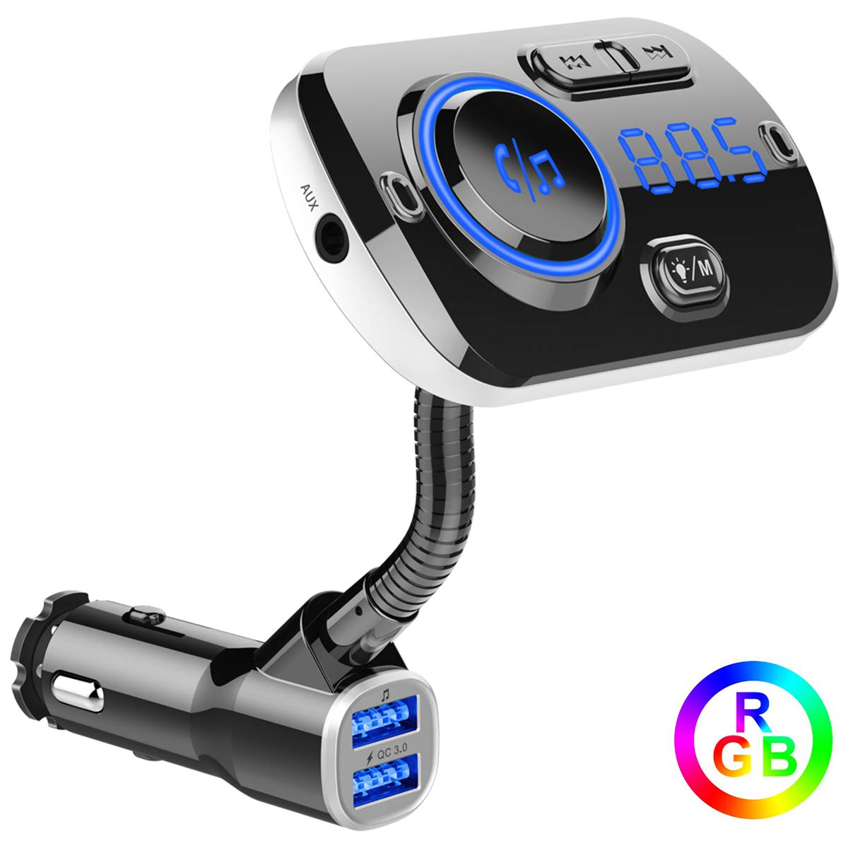 Support Aux//TF Card//USB Disk ECRAB Wireless Radio Transmitter Adapter Car Kit with Dual Charging Port Hands-Free Colorful Light Bluetooth FM Transmitter for Car