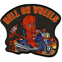 """Hot Leathers, HELL ON WHEELS """"BIKER BABY / KID"""", EMBROIDERED Iron-On / Saw-On Rayon PATCH - 4"""" x 4"""""""