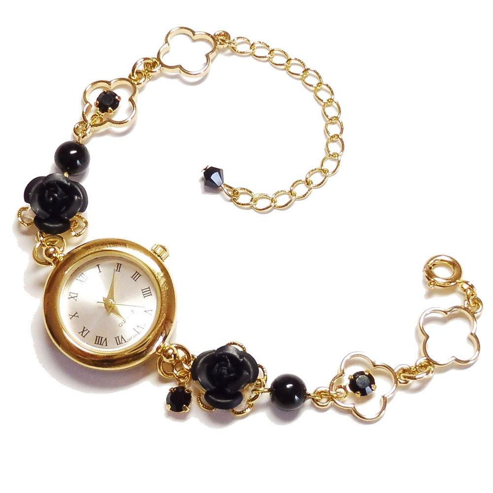 ブラックトルマリン (腕時計) 天然石 パワーストーン ブレスレット ウオッチ 可愛い キラキラ アクセサリー レディース 女性用 薔薇 バラ ローズ ばら ゴールド 金 黒 B076XW5MJQ