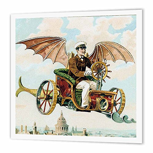 3dRose Vintage Steampunk Flying Machine Dirigible Design - Iron on Heat Transfer, 10 by 10-Inch, for White Material (ht_102667_3) ()
