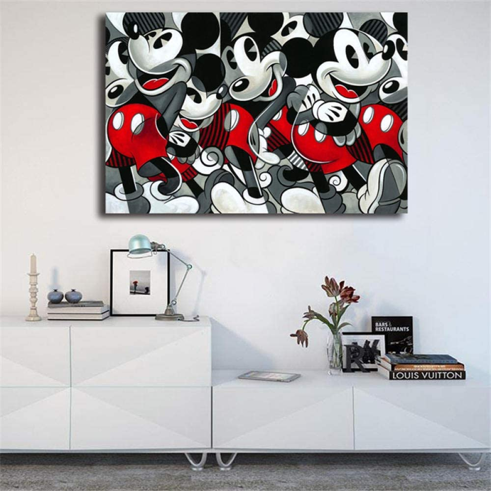 Mouse Wall of Mickey Wall Art Canvas Poster and Print Canvas Painting Imagen Decorativa para Office Bedroom Home Decor-50 * 70 cm sin Marco