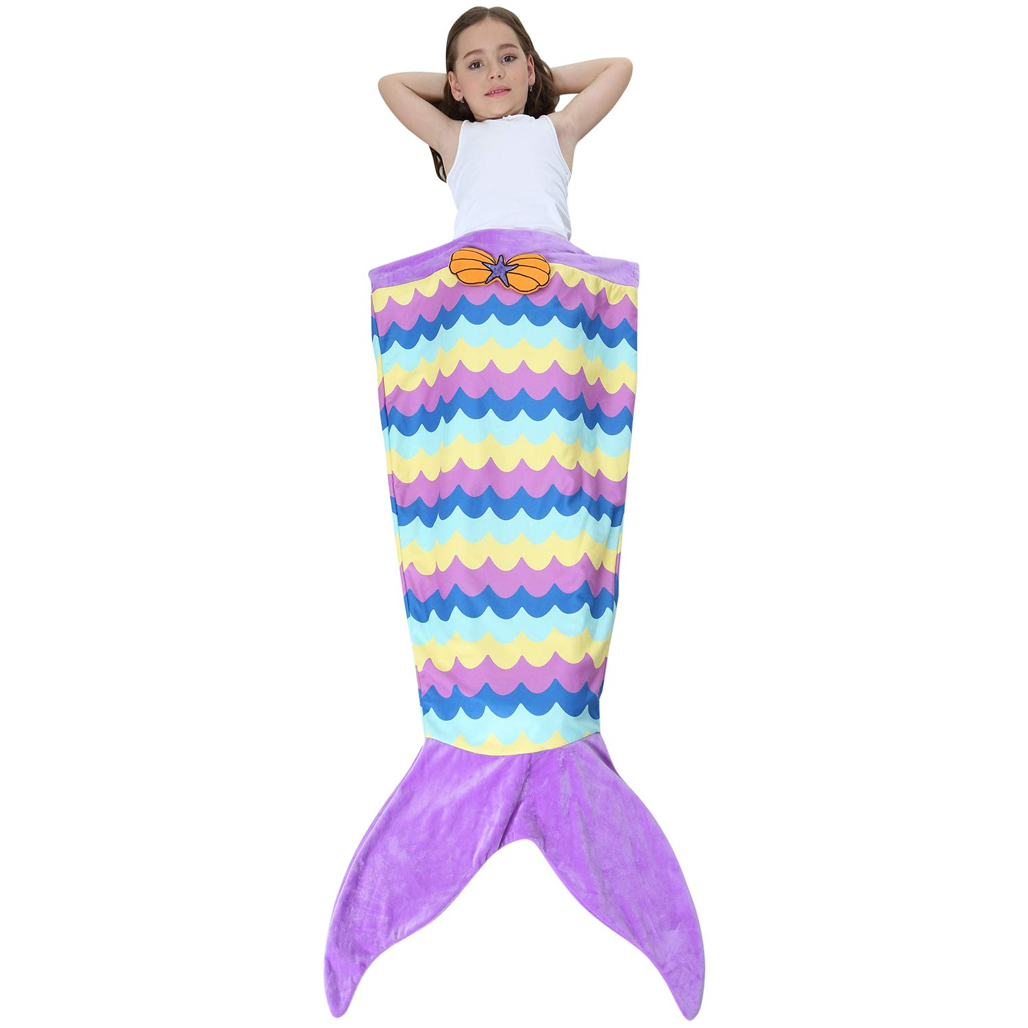 Ereon Mermaid Tail Blanket for Girls Kids Soft Plush Flannel Sleeping Bag to Keep Warm All Seasons Blanket for Girl Christmas Birthday Gift Apply to Bedroom Sofa Beach Outdoor(Purple) by Ereon (Image #7)