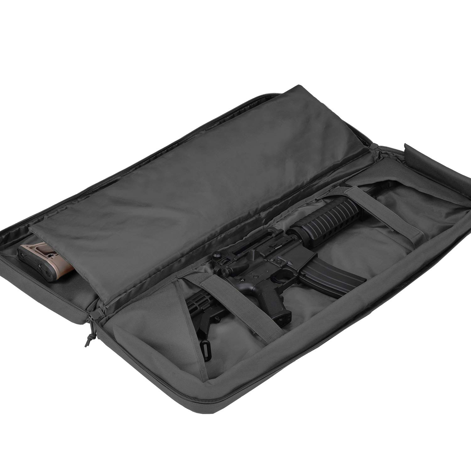 BOW-TAC Double Long Rifle Gun Case Bag Tactical Rifle Backpack Pistol Soft Firearm Transportation Carbine Case - Lockable Compartment, Available Length in 36'' 42'' 46'' by BOW-TAC (Image #3)