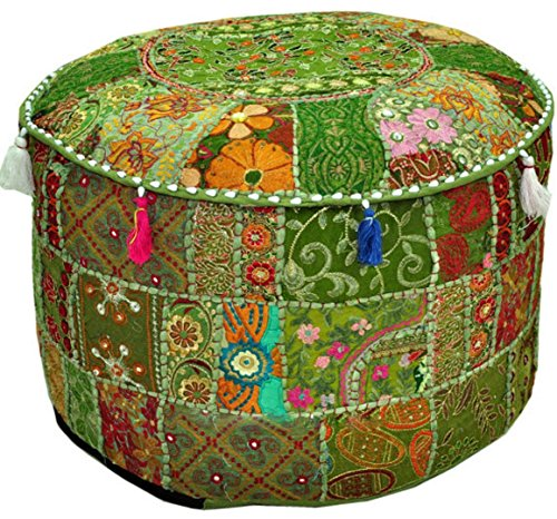 Aakriti Gallery Indian Pouf Footstool Ethnic Embroidered Pouf Cover, Indian Cotton Round Pouffe Ottoman Pouf Cover Pillow Ethnic Decor Art – Cover Only (22x14inch) (Green)