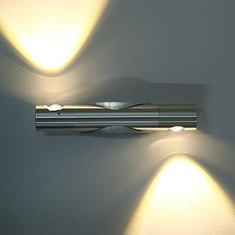 Warmcasa Aplique de Pared Interior LED Diseño Moderno Luz Ajustable 6W Lámpara Aluminio de Color Plata Decoración y Iluminación para Salón Pasillo Escalera Dormitorio Baño y Balcón (Ajustable): Amazon.es: Iluminación