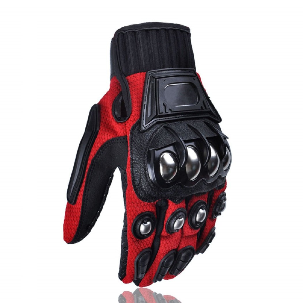 Men's Motorcycle Steel Knuckle Gloves Motorbike Racing Cycling Hunting Shooting Powersports Full Finger Gloves Red,XXL
