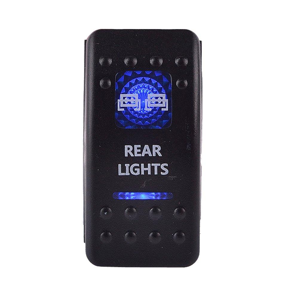 MotocityTM 5 Pin ON-OFF Blue Light Rocker Switch Kit Fog Lamp Toggle Switch