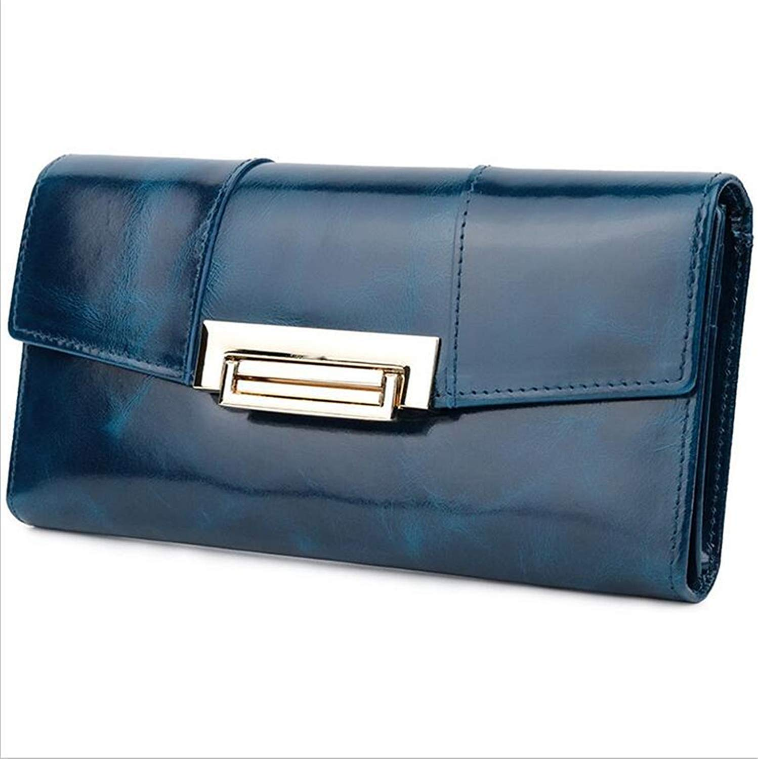 bluee Huasen Evening Bag Women Wallet Oil Waxed Cowhide Leather RFID Blocking Large Capacity Luxury Purse Clutch Wallet Muti Card Slot Perfect for Female Gift Party Handbag (color   Red)