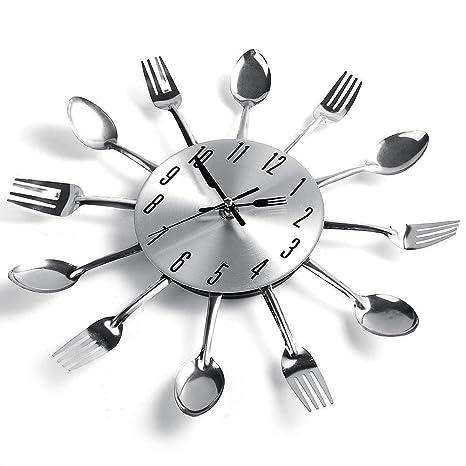 Diseño Moderno Reloj De Pared De La Cocina Cubiertos Cuchara De Cocina Tenedor Tatuajes De Pared