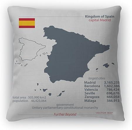 Gear nueva manta almohada Accent Decor, Reino de España aislado Mapas y oficial el icono de la bandera española mapa político, 5599981 GN: Amazon.es: Hogar