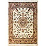 Rugstc 4'0 x 6'0 Pak Persian Area Rug with Silk & Wool Pile - Floral Design   100% Original Hand-Knotted in Ivory,Beige,Grey Colors   a 4x6 Rectangular Rug